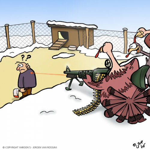 The tables have turned - Christmas/Thanksgiving cartoon in kleur