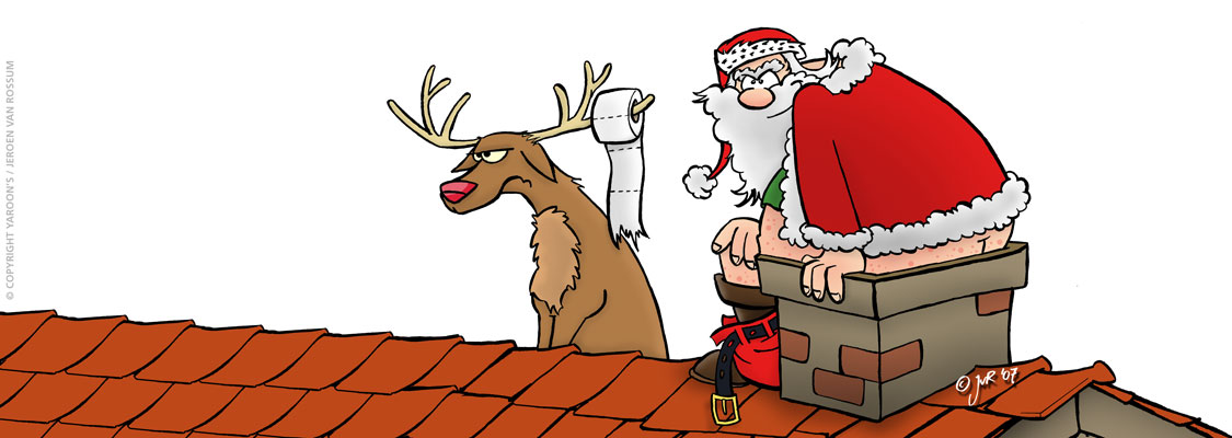 Santa uses a chimney for a toilet - cartoon