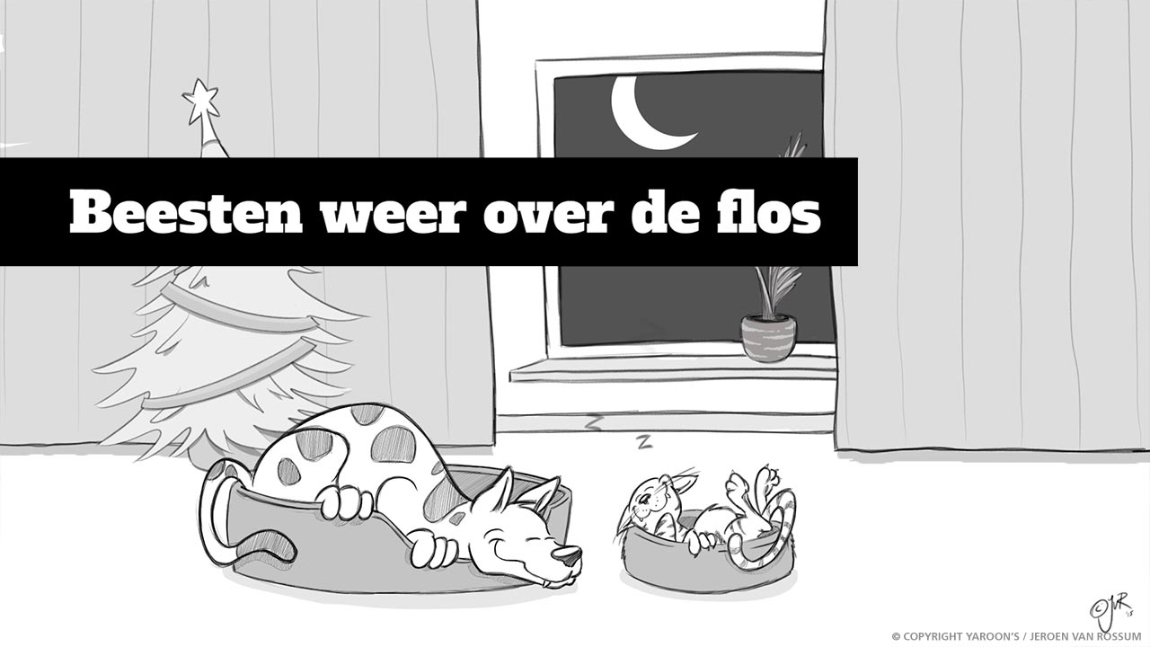 Hond en kat slapend cartoon