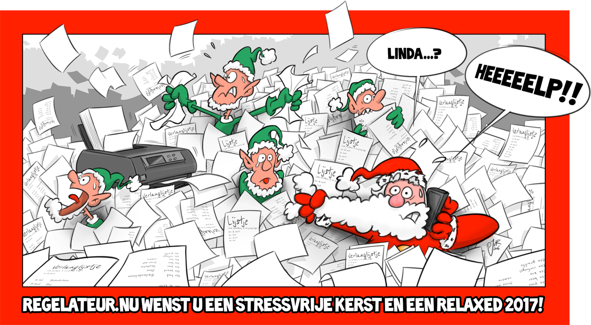 Regelateur Kerstkaart cartoon 2016