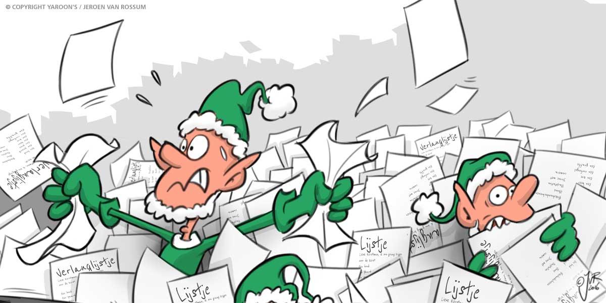 Een kerstelf in de stress in een enorme berg verlanglijstjes