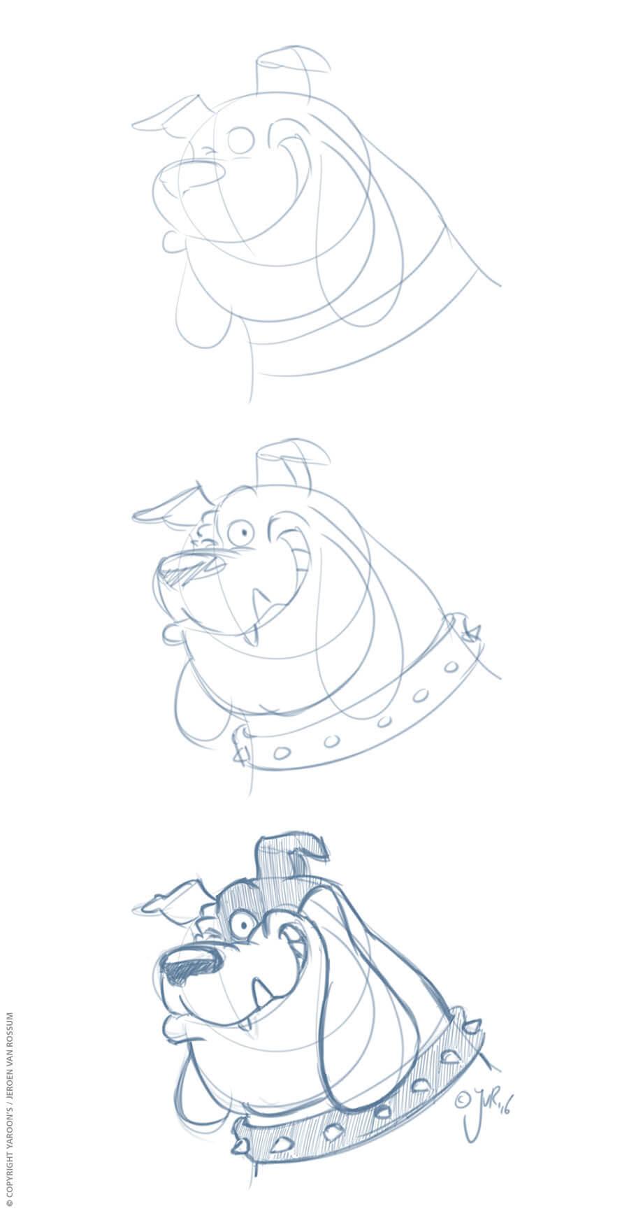 Schetsontwerp, progressie van Buster die een knipoog geeft