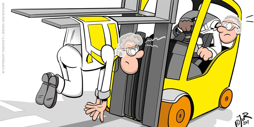 Campina Lochem voetgangers gaan voor/heftruck cartoon