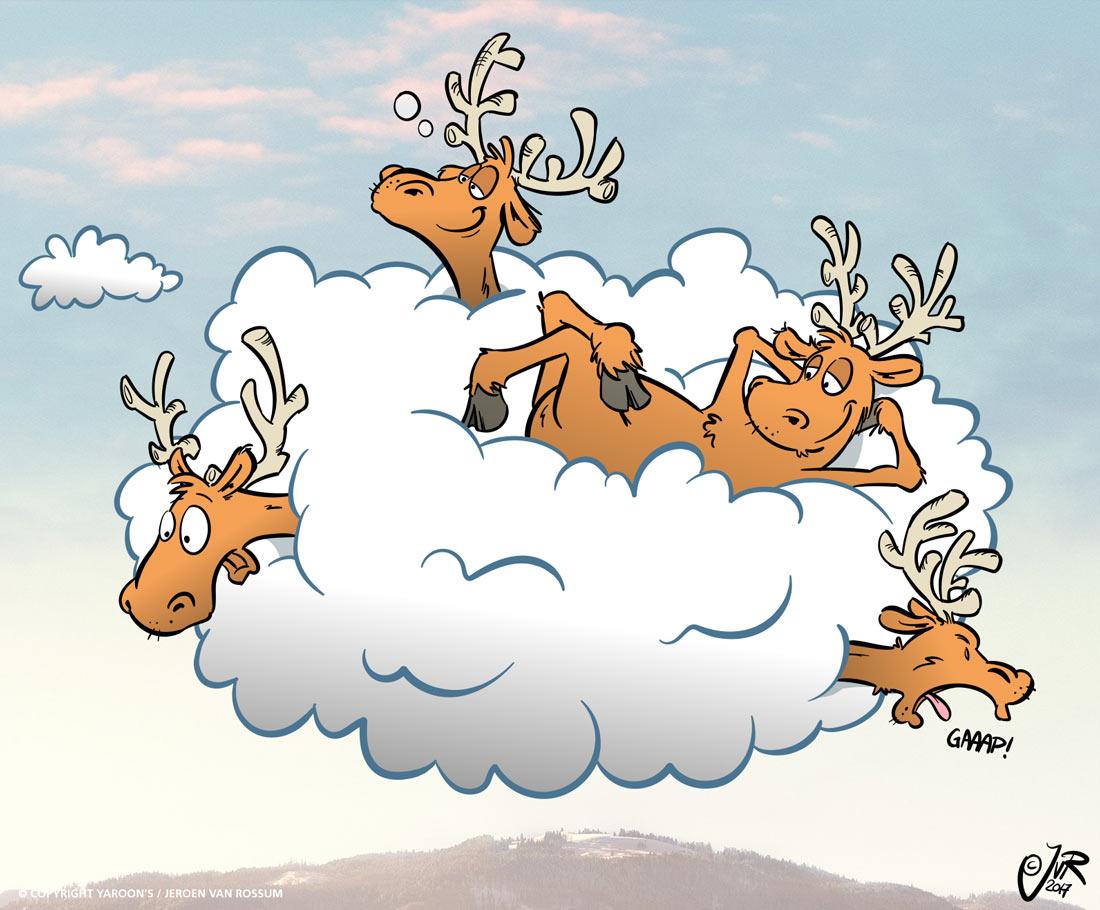 Close-up van de kerstkaart voor Businessconnect. 4 rendieren die heerlijk liggen te luieren op een wolk.