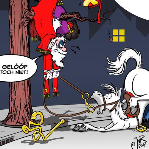 Het paard van Sinterklaas is aangereden door een auto, Sinterklaas is door de klap een boom in geslingerd. Cartoon voor 112 Rechtsbijstand.