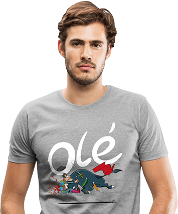 Man met grijs Olé anti-stierenvechten T-shirt