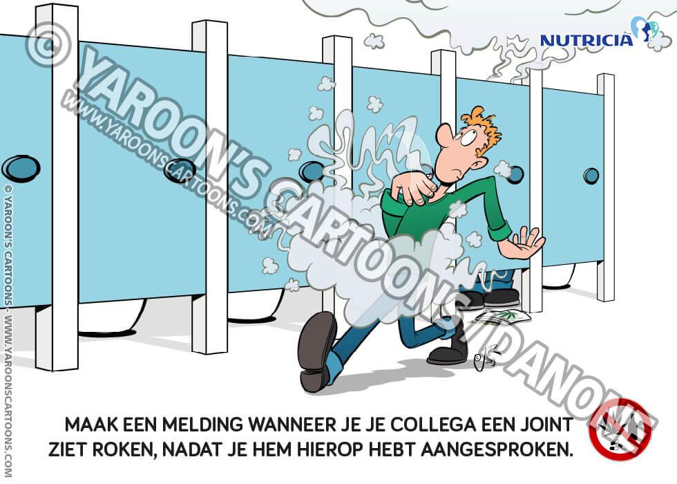 Cartoon LSR Campagne - ADM - Iemand zit op het toilet stiekem een jointje te roken.